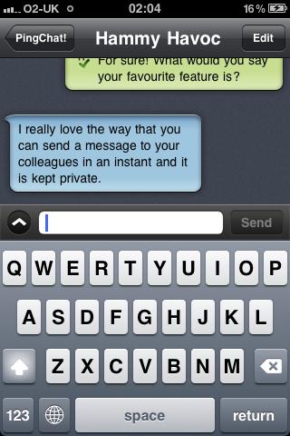 PingChat! conversation