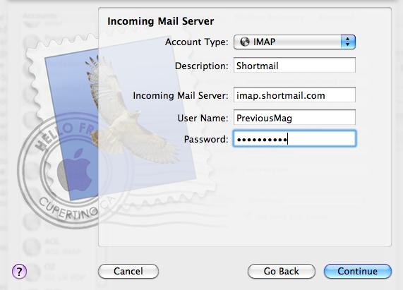 Shortmail IMAP Configuration