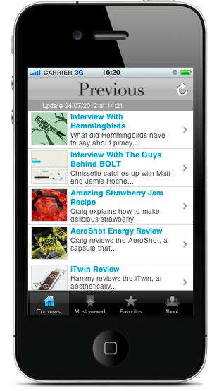 previous magazine iOS app