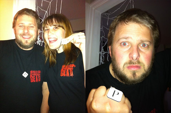 AD and Katie Lane with Previous Magazine Pendants Wearing Invasion of the Not Quite Dead T-Shirts