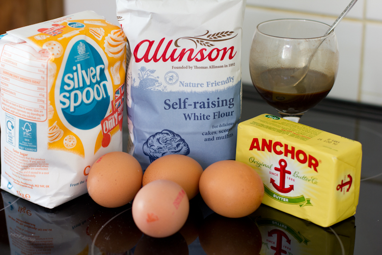 Ingredients to Make Coffee and Cognac Cupcakes