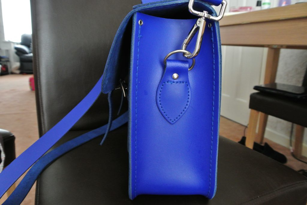 "Side of The Cambridge Satchel Company 15"" Sapphire Batchel"