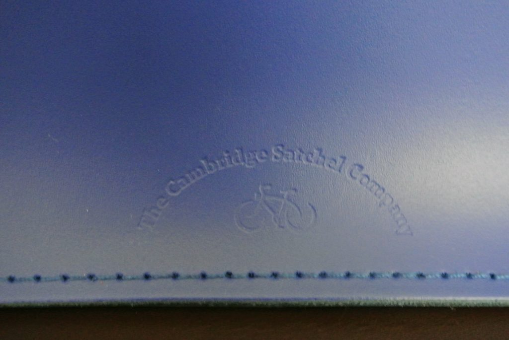 "Embossed Logo of The Cambridge Satchel Company 15"" Sapphire Batchel"