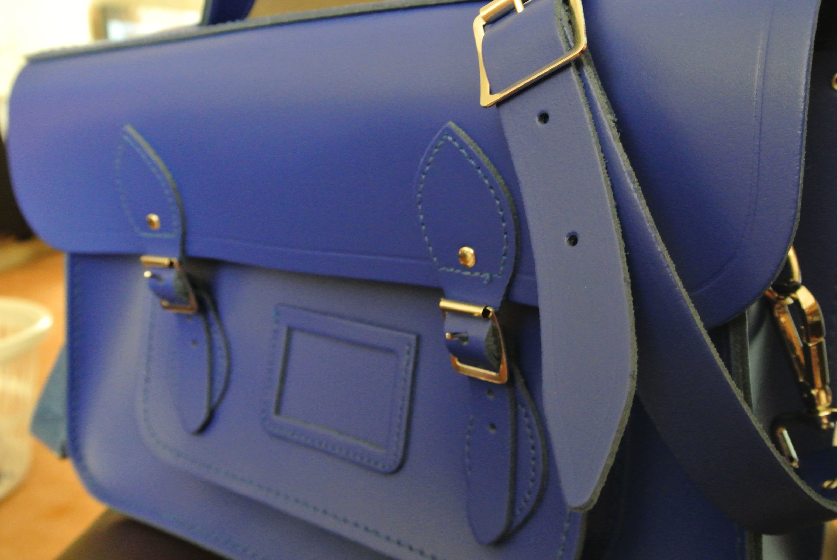 "Front View of The Cambridge Satchel Company 15"" Sapphire Batchel"