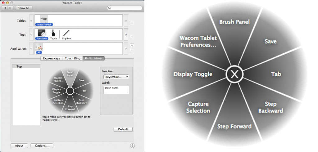 Wacom Intuos5 touch Small Touch Ring Configuration