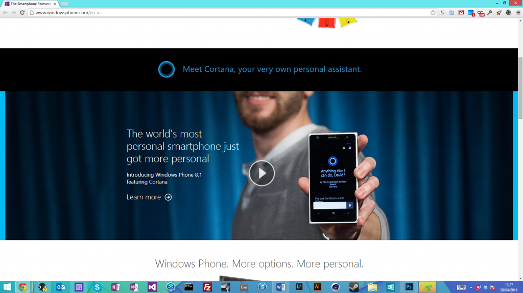 Windows Phone Landing Page With Cortana