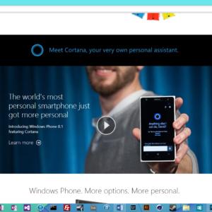 Windows Phone Landing Page With Cortana
