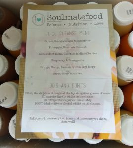 Box of Soulmatefood 5-Day Perfect Juice Diet Menu