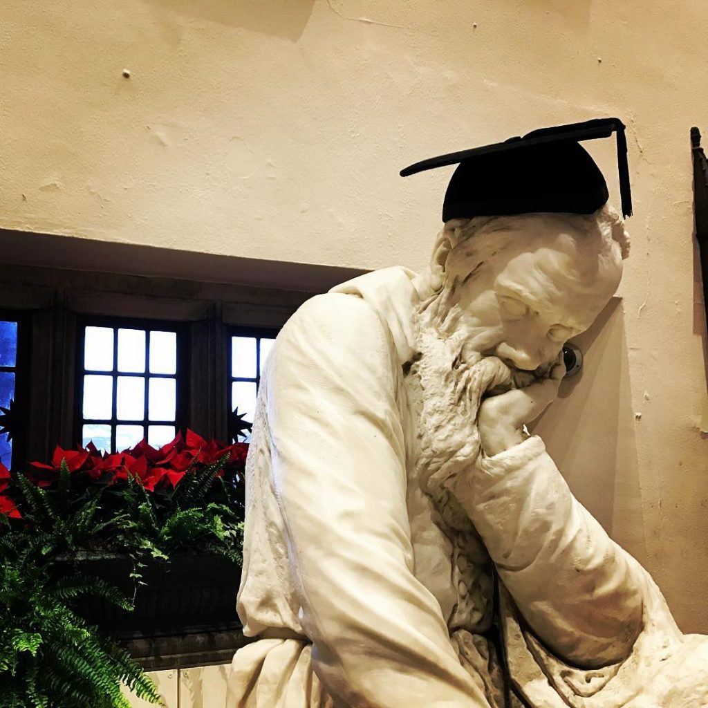 Galileo Statue in Mortarboard Cap