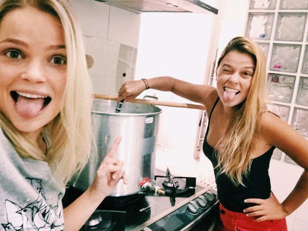 Blonde Girls Making Homebrew Beer