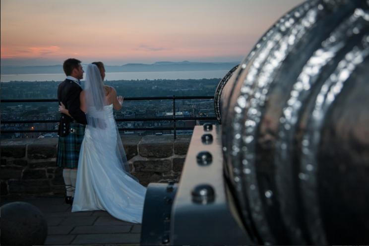 Scottish Wedding Photo of Bride and Groom with Kilt