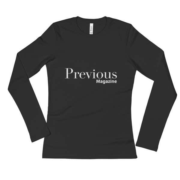 Ladies' Long Sleeve T-Shirt with White Previous Magazine Logo 1