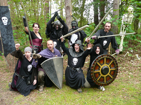 LARPing Group in Woods