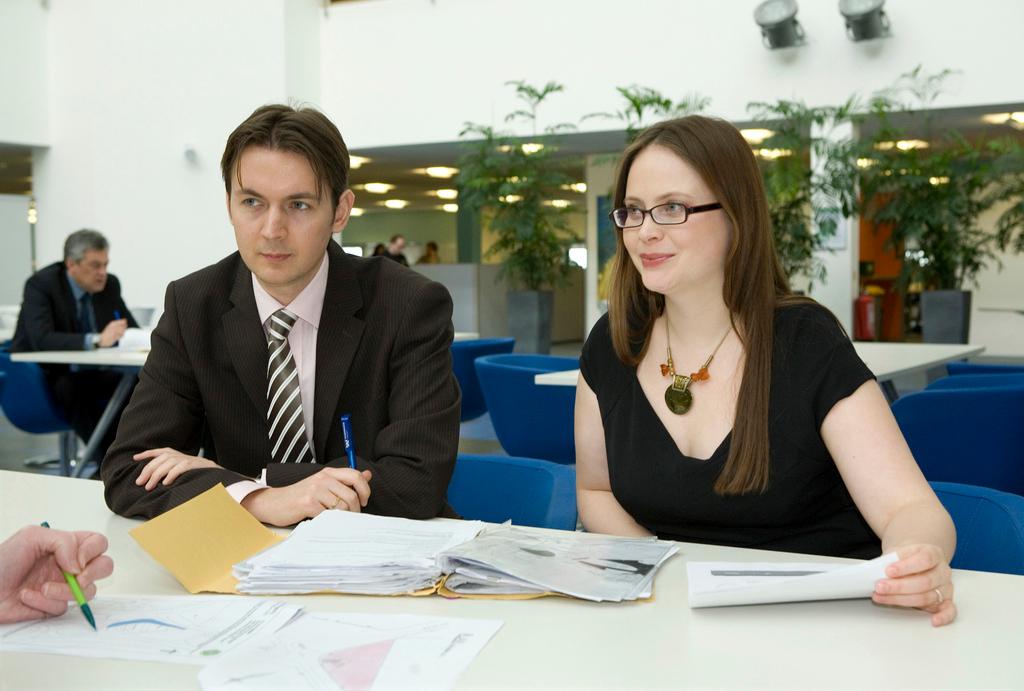 Man and woman at a job interview