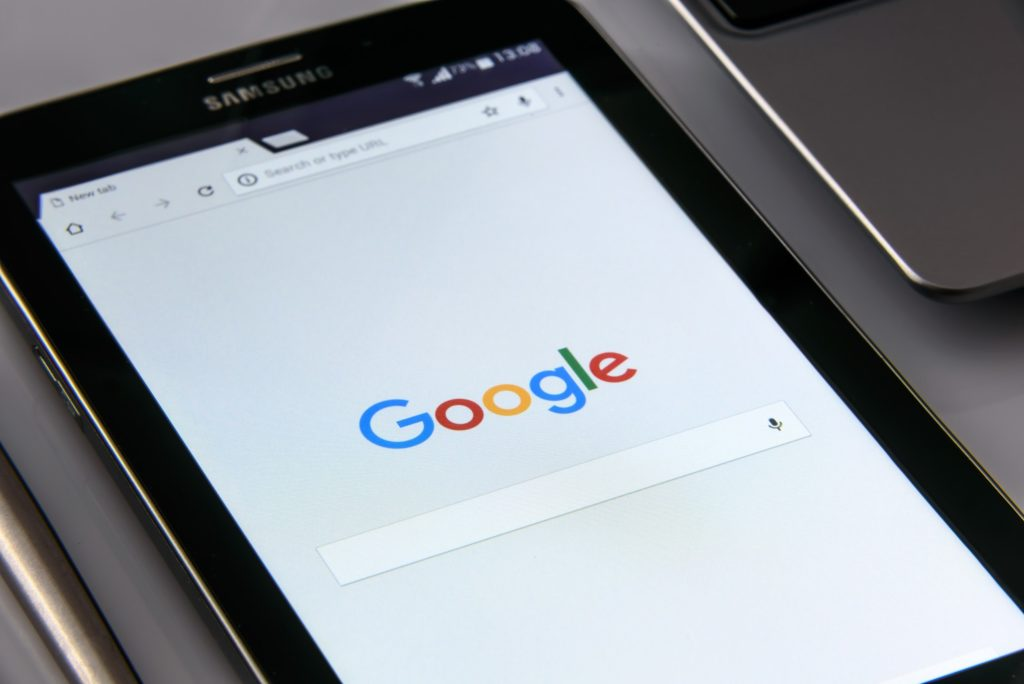 Google on Samsung Android Tablet