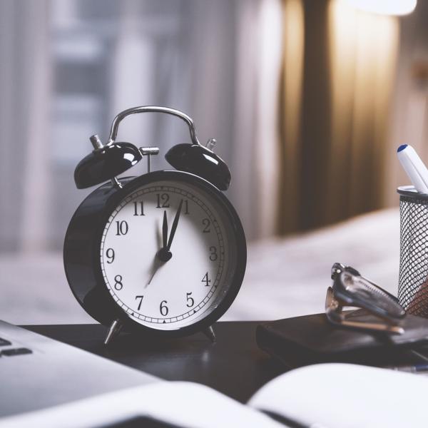 Alarm clock on a desk