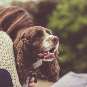 Woman hugging happy dog