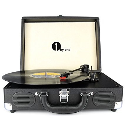 1byone suitcase style all-in-one vinyl turntable