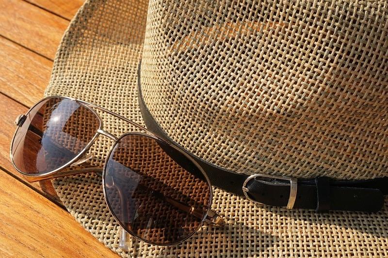 Sunglasses on a hat