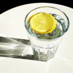 Slice of lemon in a glass of water