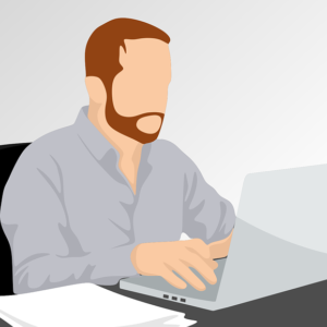 Vector Illustration of Man Using a Laptop