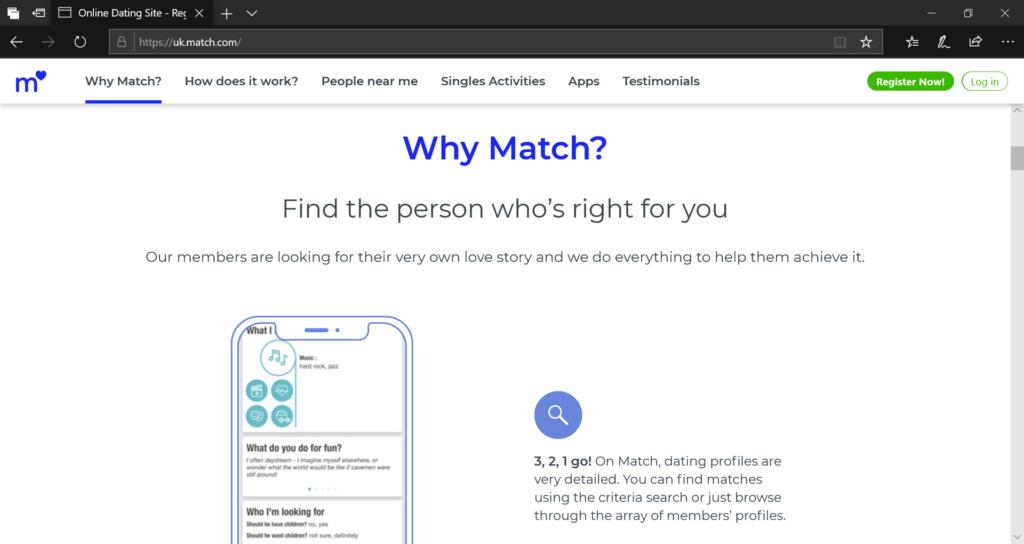 Match.com website screenshot
