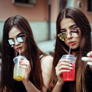 Teen girls take a selfie