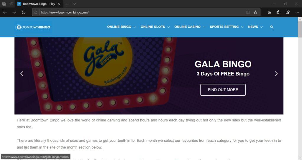 Boomtown Bingo Website Screenshot