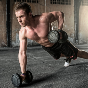Man exercising with dumbells