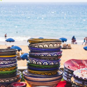Bowls Stacked in Taghazout, Morocco on the Beach