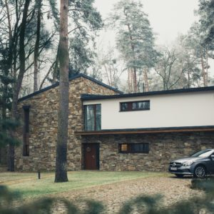 House surrounded by trees with a car