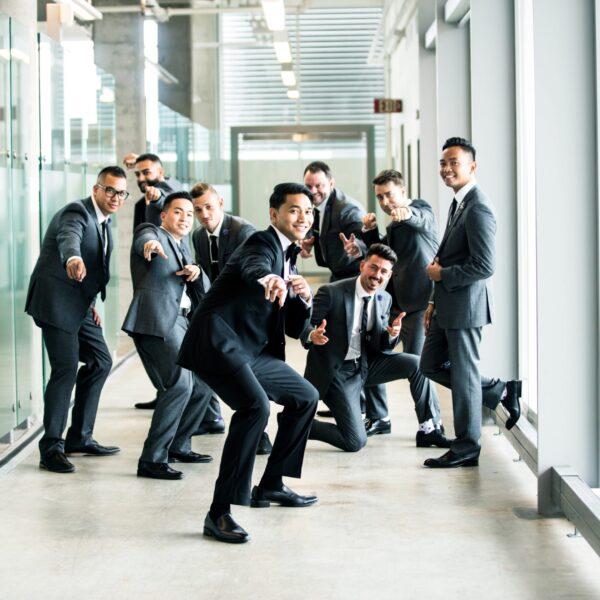 Businessmen in hallway