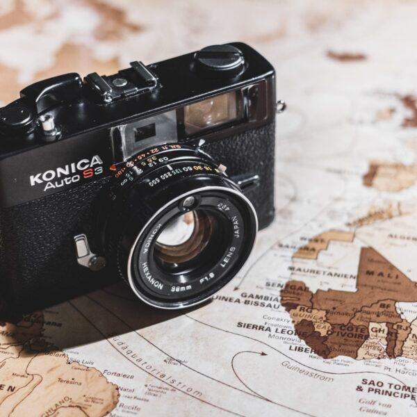 Konica Auto S3 SLR camera on map
