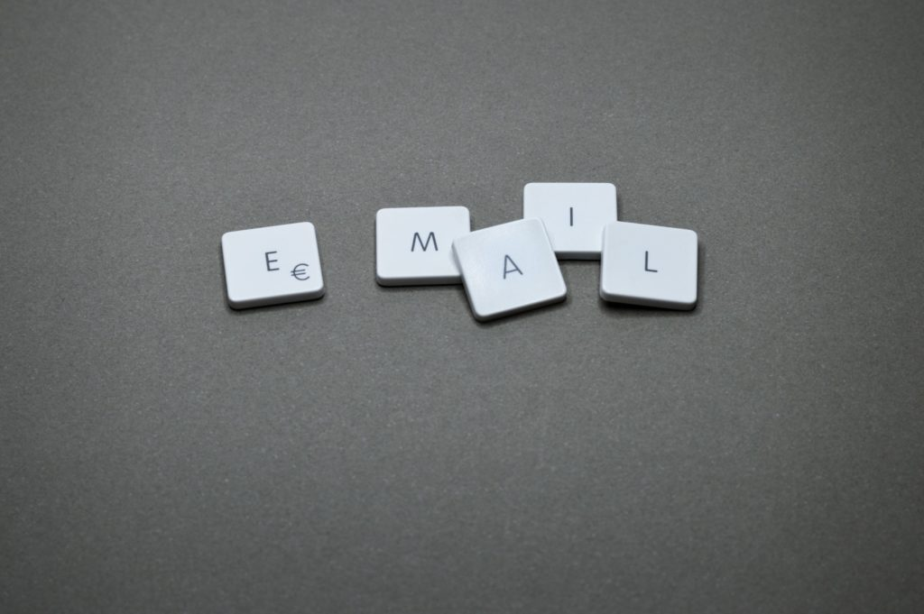 'EMAIL' spelled with keyboard caps