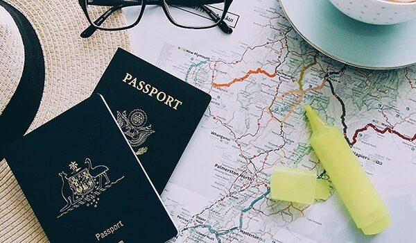 Passports on a map