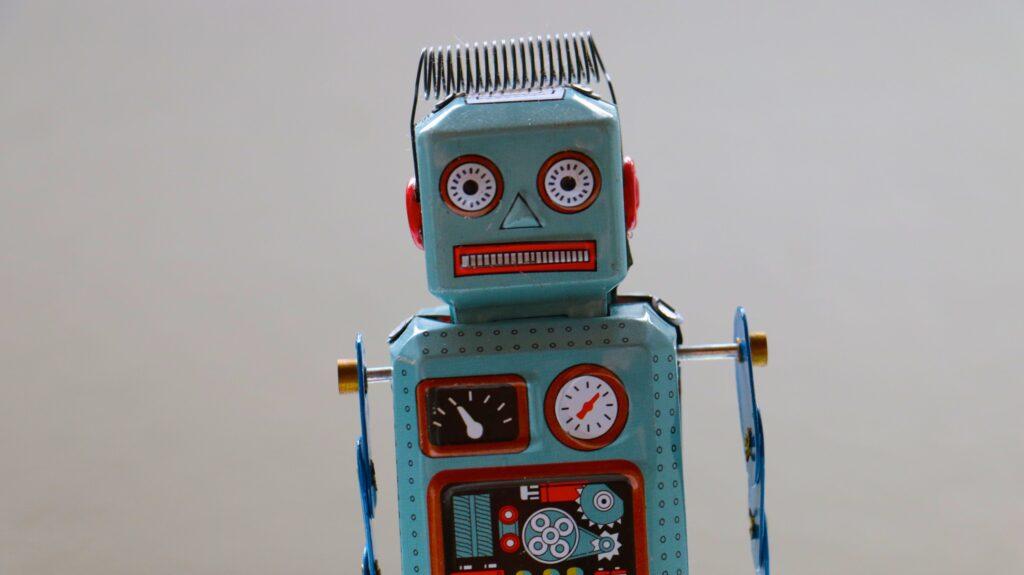 Blue plastic robot toy