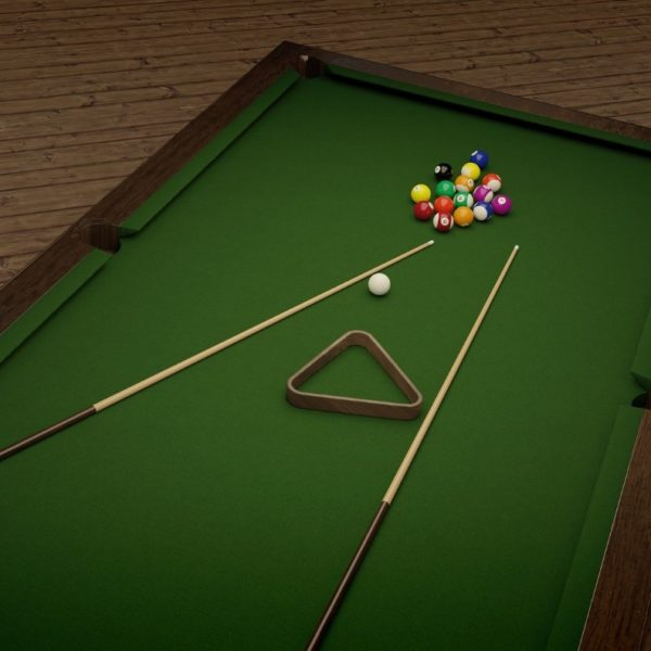 Pool table, cues and balls