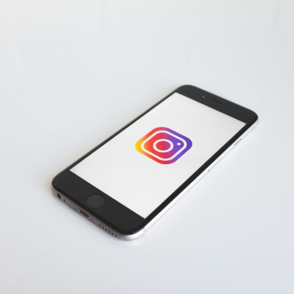 Instagram logo on space grey iPhone 6