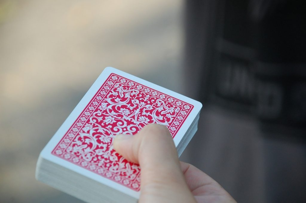 Deck of cards in a hand