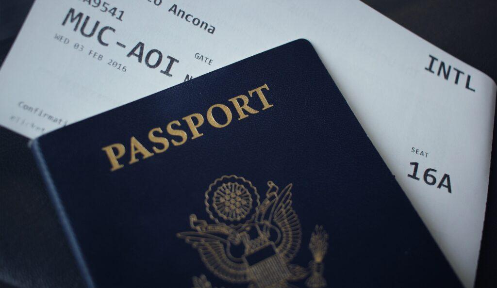 Passport on ticket