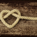 Rope tied with a heart shape