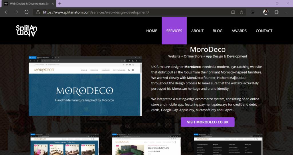 Split An Atom Web Design & Development Services page