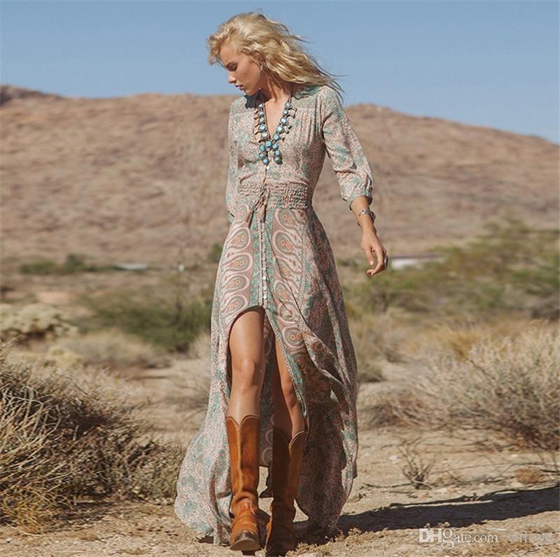 Woman wearing bohemian outfit
