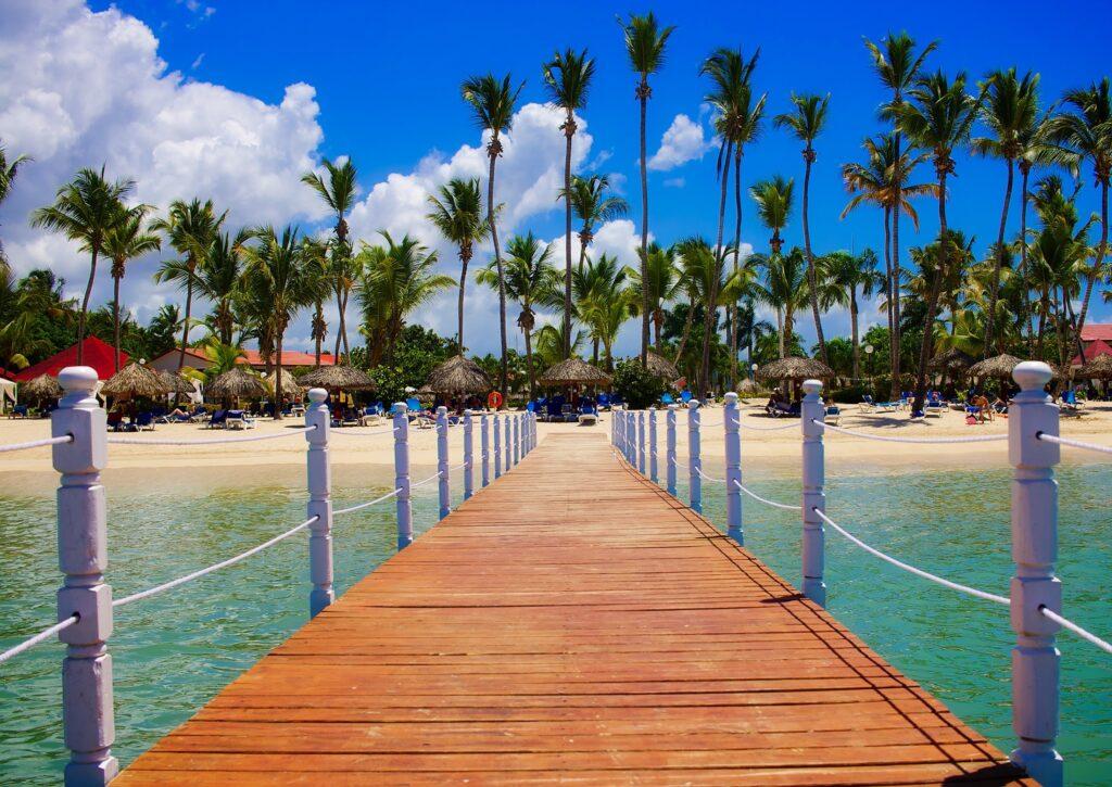 Deck dock at beach