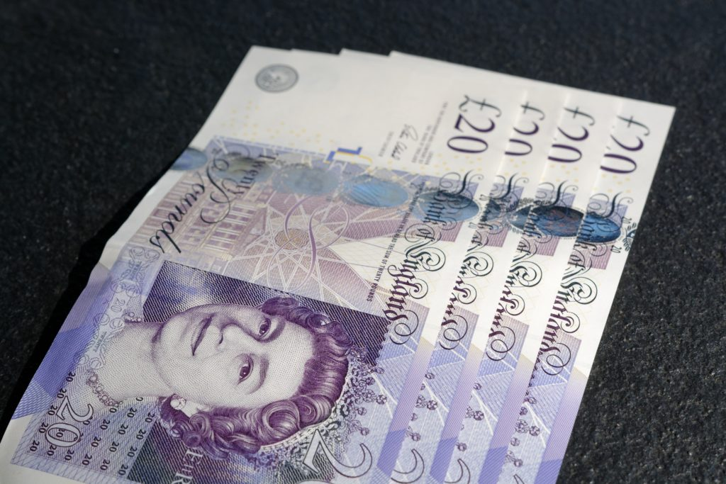 Four £20 banknotes