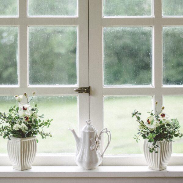 Flowerpots and porcelain teapot on windowsill