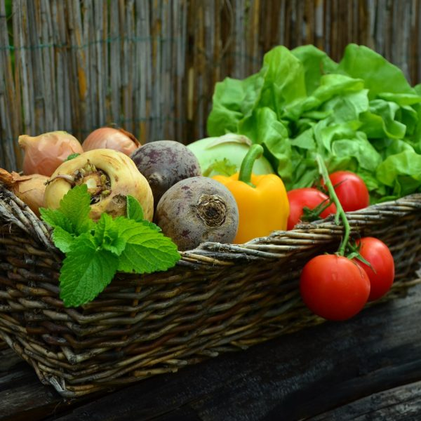 Basket of vegetables and fruit