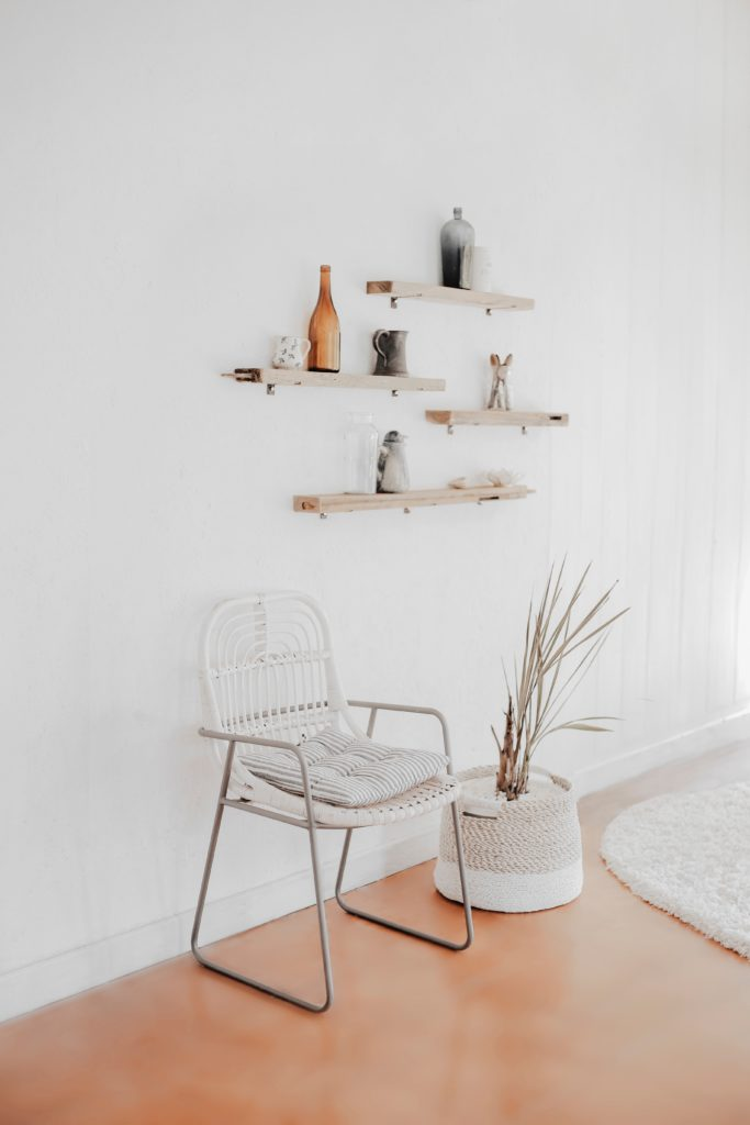 Chair, rug, plant and shelves