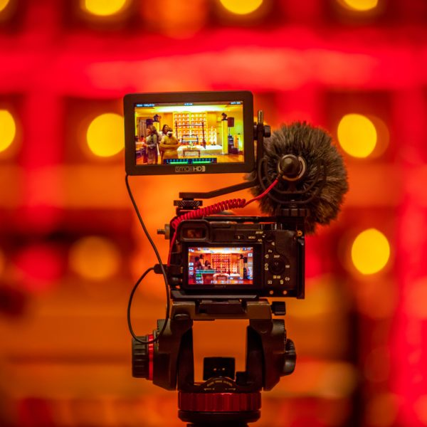 Video camera in front of bokeh background
