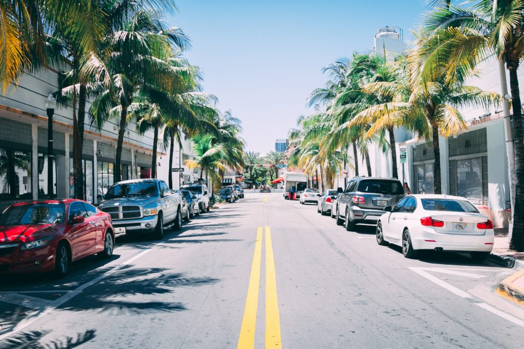 Street with cars parked either side in South Beach, Miami Beach, Florida, USA